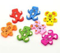 Mixte Perles en Bois Ours mignon Multicolore 28x23mm X 10