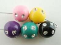 Mixte Perles  en Plastique Strass Blanc  10mm X 10