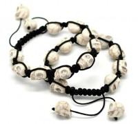 Bracelet crâne blanc  Perles tressees  Bracelet réglable 21cm-25cm X 1