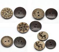 Mixte Boutons Coquille de Coco ronds Brun Motif 2 trous 15mm X 10