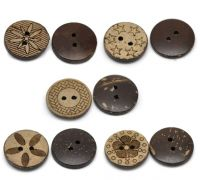 Mixte Boutons Coquille de Coco Brun Rond 2 trous 18mm  X 10