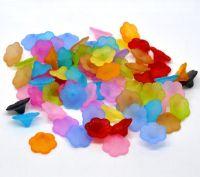 Mixte de fleur de lis givré Perles acryliques 21x9mm Taille du trou =  1.3 mm  X 10