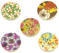 Mixte boutons en bois 4 trous ronds motif multicolore scrapbooking 25mm
