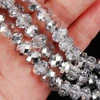 Perles 6 x 4mm,   perles  Cristal argentees X 100
