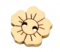Boutons bois  fleur   15 x 15mm X 50