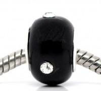 Perles Lampwork Verre Strass  Noir x 10