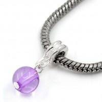 Perles  Argentees Plaqué pourpre   22x8mm  X 10