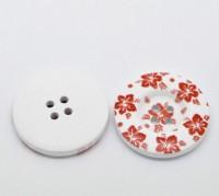 Boutons motif Fleur rouge 4 trous ronds en bois Bouton  30mm  X 10