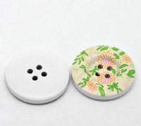 Boutons motif  fleur  4 trous ronds ,bouton en bois  30mm  X 10