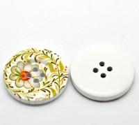 Boutons motif  fleur  4 trous ronds bouton en bois  30mm  X 10