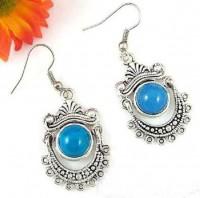Boucles d'oreilles , Argent du tibet,  turquoise X 1