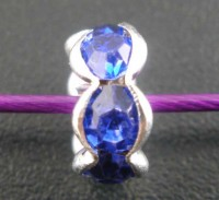 Perles intercalaires Argentées rondelles Strass Bleu   8 mm X 4