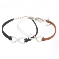 Mixte tissé main Infinity Bracelet Black Coffee White