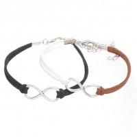 Mixte tissé main Infinity Bracelet Black Coffee White X 2