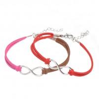 Mixte tissé main Infinity Bracelet Red Fuchsia Coffee X 2