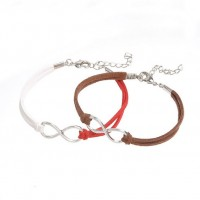 Mixte tissé main Infinity Bracelet White Red Coffee