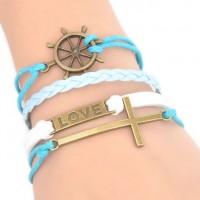 Mode main Infinity Charms Bracelets en cuir de 20cm