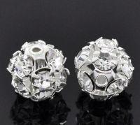 Perles  Strass Blanc boule Argenté  10mm X 10