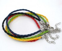 Bracelet Cordon en Similicuir Tressé coloré Fermoir à mousqueton  20cm