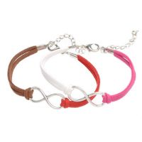 Mixte tissé main Infinity Bracelet Red Coffee White Fuchsia