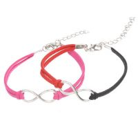Mixte tissé main Infinity Bracelet Fuchsia Coffee Red White