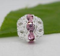 Perles spacer Strass Rose Ajourées Argentées 10x9.5mm X 10