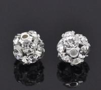 Perles de Strass Boule Argenté  6mm X 10