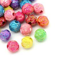 Mixte Perles intercalaires Acrylique Rondes 10mm .....Taille du trou 1.4 mm  X 10