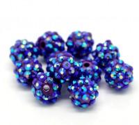 Perles strass acrylique  couleur violet AB 12mm....Taille du trou 1.2 mm  X 10