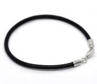 Bracelet Cuir Noir Fermoir à Mousqueton 20cm X 1