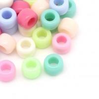 mixte perles acrylique forme cylindrique multicolore 8 x 6mm. taille du trou = 4.4 mm X 100