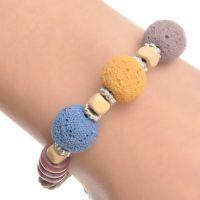 Bracelet Réglable Perle Pierre Volcanique  18cm  X 1
