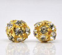 Perles de Strass Boule Dorées  8 mm X 10