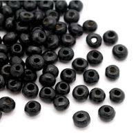 Perles en Bois Rondes Noir 4mm  taille du trou = 1.4 mm X 1500