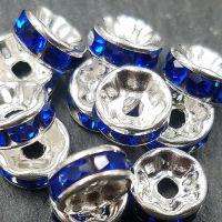 Rondelles strass argent / sapphire 8mm X 4