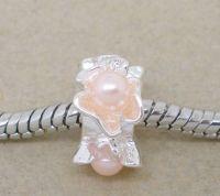 Perles Fleur rose clair  Argenté X 10