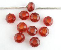 Perles Verre à Facette Rouge  14x8mm X 10