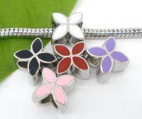 Perles Fleur à 4 pétales Émail  Mixte X 10