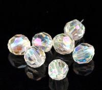 Perles  Acrylique Clair AB    6mm ....Taille du trou =1.4 mm  X 50