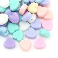 Mixte perles Acrylique forme cœur  8x8mm. Taille du trou 1 mm  X 30