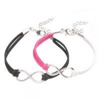 Mixte tissé main Infinity Bracelet  Noir ,Fuchsia et Blanc X 2
