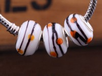 Perles Lampwork , perles de Murano et argent  15 x 9 et trou 4.5mm X 10