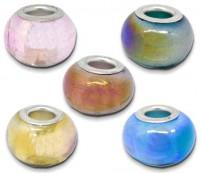 Perles Lampwork , perles de Murano Couleur AB  X 10  Mixte couleurs