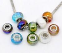 Perles Lampwork , perles de Murano Couleur AB   14x10mm X 10...mixte