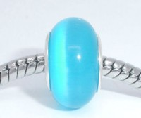 Perles Lampwork , perles de Murano oeil de chat Bleu 14x8mm X 10