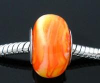 Perles Lampwork , perles de Murano Orange 14x9mm     trou : 4.5 mm X 10