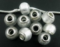 Perles Lampwork , perles de Murano Blanc 11x14mm X 10