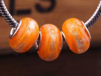 Perles Lampwork , perles de Muranoo et argent    15 x 9 et trou 4.5 X 10