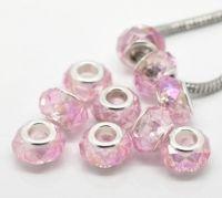 Perles Lampwork , perles de Murano Rose clair Couleur AB 14x9mm X 10