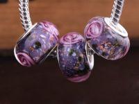 Perles Lampwork , perles de Murano et argent    15 x 9 et trou 4.5 X 10  Perles